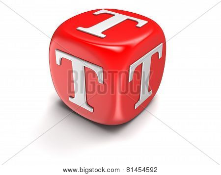 Dice with letter T (clipping path included)