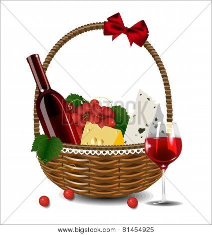 A Bottle Of Wine, Grapes And Cheese In A Wicker Basket. Set For A Picnic.