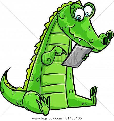 Cartoon crocodile using a computer tablet