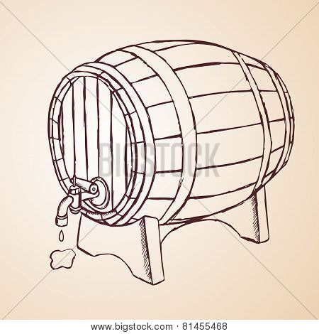 cask of wine hand drawn
