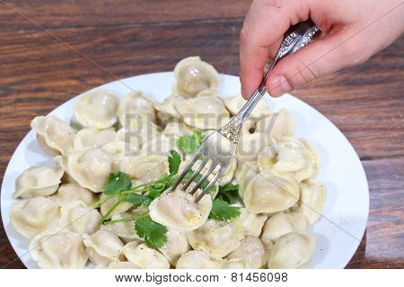 The Man's Hand Holds A Plug With Pinned On It Pelmeni