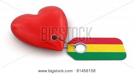 Heart with Bolivian flag (clipping path included)