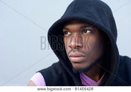 Trendy Young African American Man With Hooded Sweatshirt