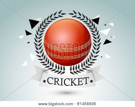 Glossy red ball with laurel wreath for Cricket sports concept on shiny abstract background.