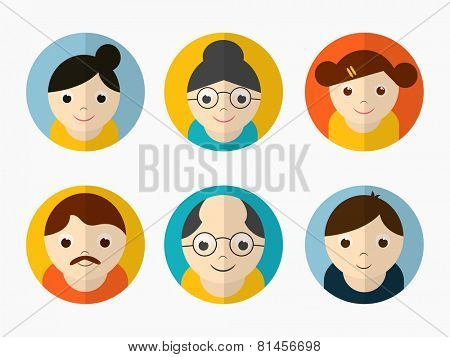 Colorful set of happy family characters on grey background.