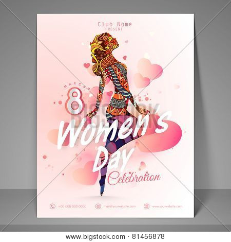 Party flyer, banner or template with young girl for International Women's Day celebration.