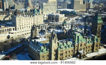 OTTAWA CANADA JANUARY 20, 2014: View of the East block of parliament hill and Chateau Laurier in Ottawa, Canada