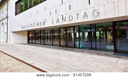 Entrance To The Landtag In Wiesbaden