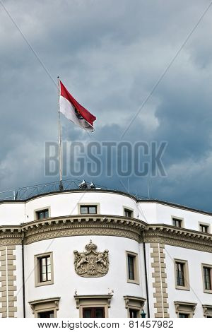 Parliament (landtag) Of Hesse In Wiesbaden, Germany In Dark Clouds.
