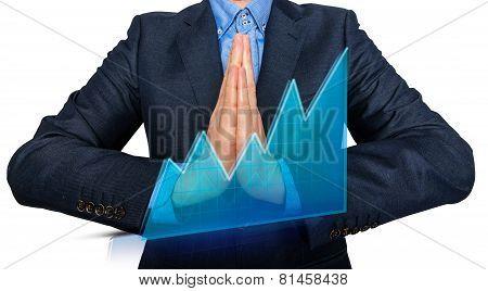 Young Man Businessman praying and Wishing Hard.