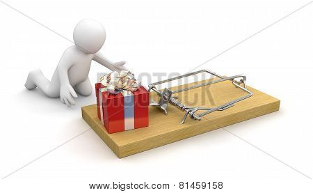 Man and Mousetrap with gift (clipping path included)