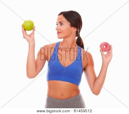 Sporty Woman Choosing Fitness Over Sugary Food