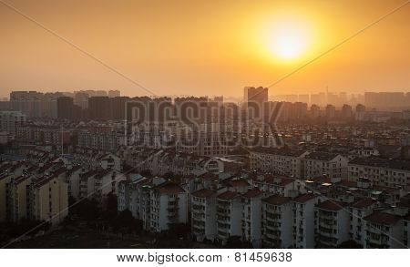 Bright Colorful Sunrise Over Hangzhou, China