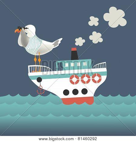 Seagull looking through binoculars on the vessel