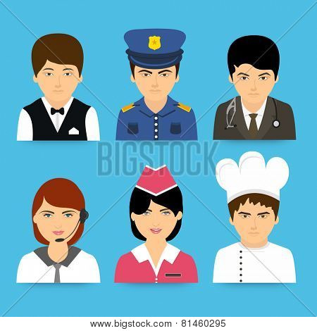 Set of professions avatars like waiter, policeman, doctor, business woman, nurse and chef on blue background.