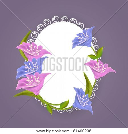 Illustration of a designer oval shaped frame decorated with stylish flowers with space for your message.