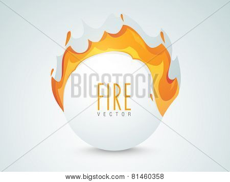 Shiny sale sticker, tag or label with fire flame on grey background.
