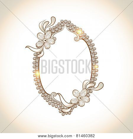 Illustration of a oval shaped frame with shiny floral decoration and space for your message on abstract background.