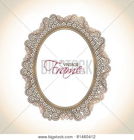 Illustration of a vintage frame with floral decoration in oval shape on abstract background.