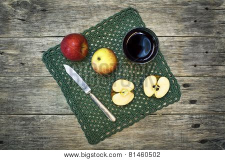 Beautiful Still-life Composition With Juice In A Glass, Apples And Fruit Knife.