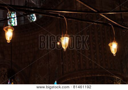 Light bulbs in iterior of Blue Mosque in Istanbul, Sultanahmet Mosque