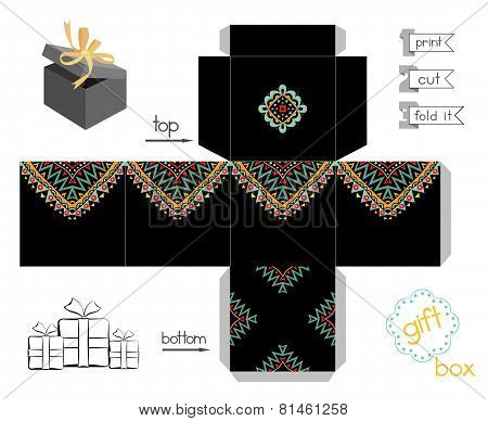 Printable Gift Box With Abstract Mexican Pattern