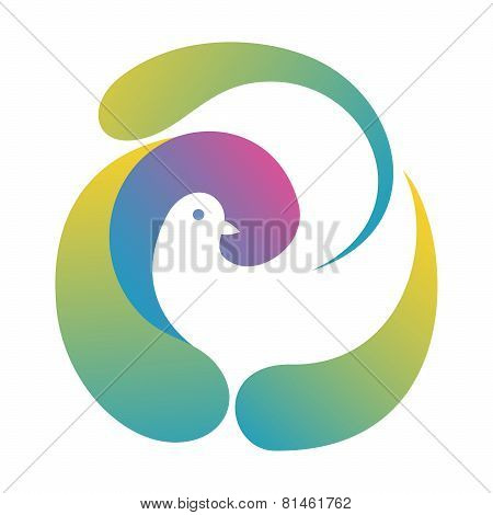 Dove In Abstract Nest Logo Template