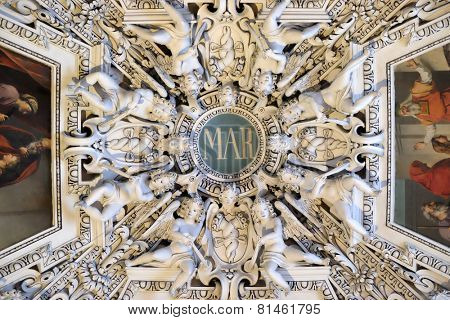 SALZBURG, AUSTRIA - DECEMBER 13, 2014: Monogram Maria, fragment of the dome of Salzburg Cathedral. Salzburg Cathedral is renowned for its harmonious Baroque architecture.