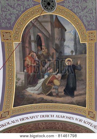 BAD ISCHL, AUSTRIA - DECEMBER 14: Saint Nicholas, fresco painting in parish church of St. Nicholas in Bad Ischl, Austria on December 14, 2014.
