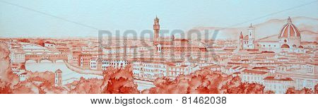 Water Colour Florence Panorama