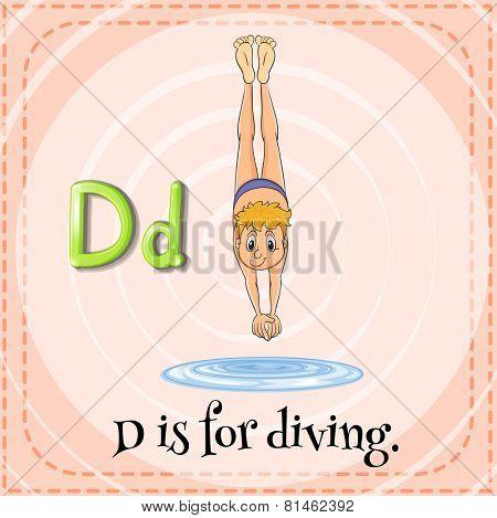 Illustration of a letter D is for diving