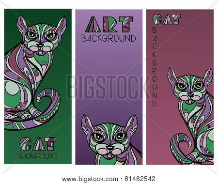 Set Of Cards With Abstract Ornate Cats