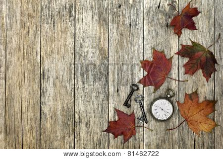 Composition With Old Pocket Watch, Rusty Keys And Leaves.