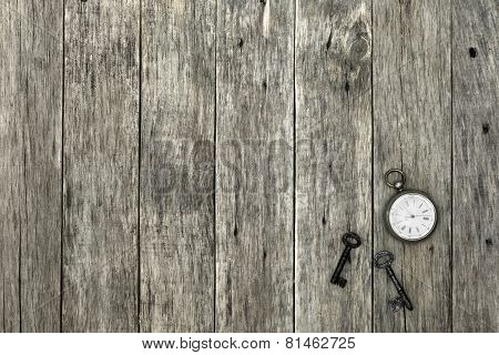 Decorative Composition With Old Pocket Watch And Rusty Keys.