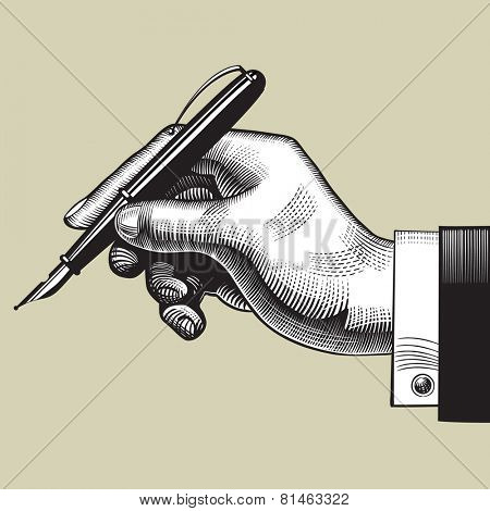Vintage engraving drawing of hand with a pen. Vector illustration