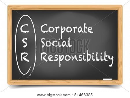 detailed illustration of a blackboard with CSR business term explanation, eps10 vector, gradient mesh included