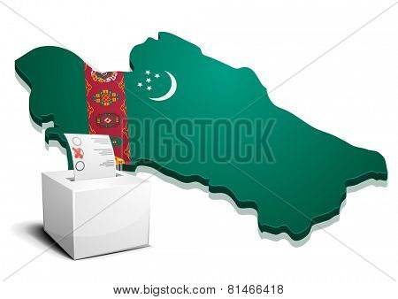 detailed illustration of a ballotbox in front of a map of Turkmenistan, eps10 vector