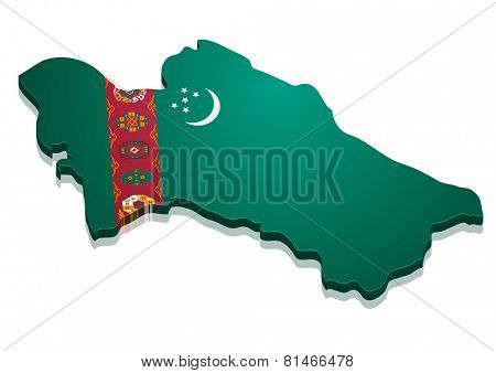 detailed illustration of a map of Turkmenistan with flag, eps10 vector