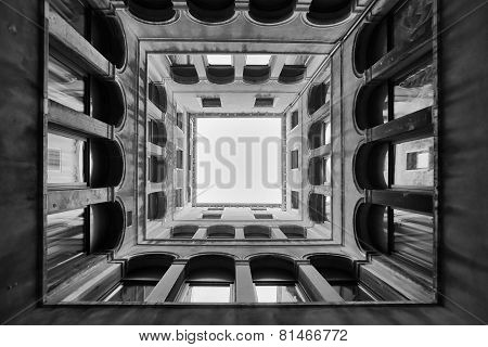 Bottom View Of Archeological Museum In Venice Bw