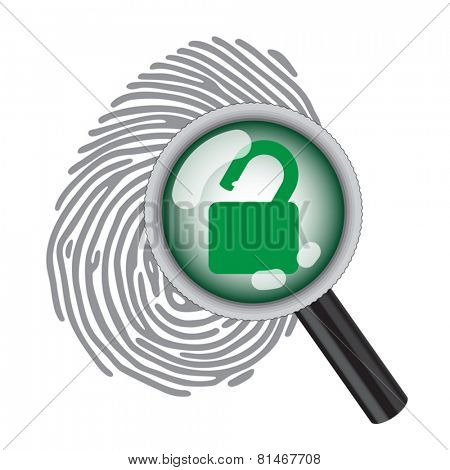 finger print with magnifying glass and unlock