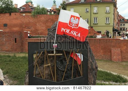 WARSAW, POLAND - JULY 31, 2013: Katyn Memorial dedicated to the victims of the Katyn Massacre (1940) in Warsaw, Poland.