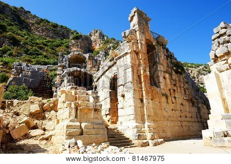 The Ruins In Amphitheater At Myra, Turkey