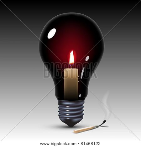black light bulb with candle inside