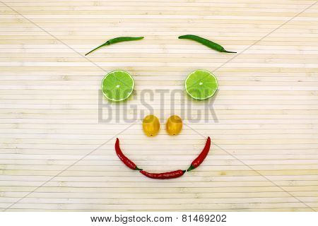 Fanny Composition With Healthy Eating Smiling Face From Vegetables And Fruits.