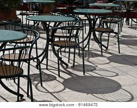 Cafe Tables And Chaires French Style With Shadow