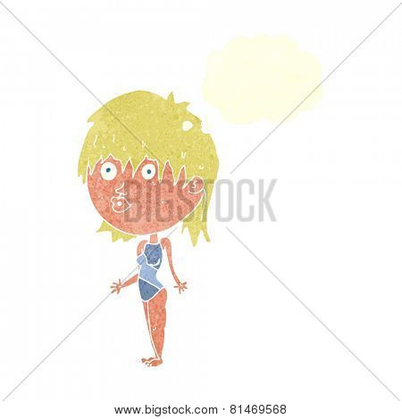 cartoon woman in swimsuit shrugging shoulders with speech bubble