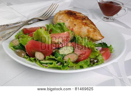 Garnished With Vegetables With Chicken Schnitzel