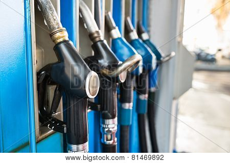 Fuel Pumps At A Gas Station