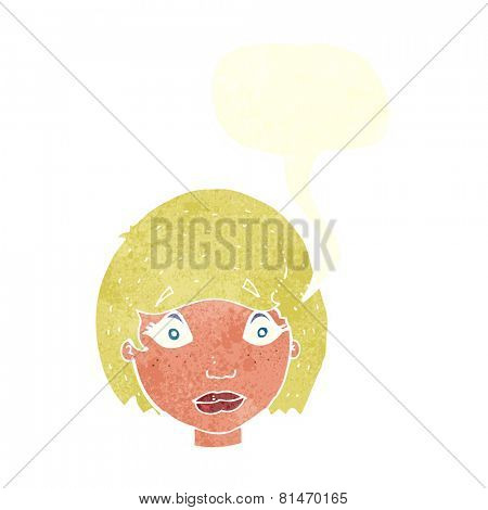 cartoon worried female face with speech bubble