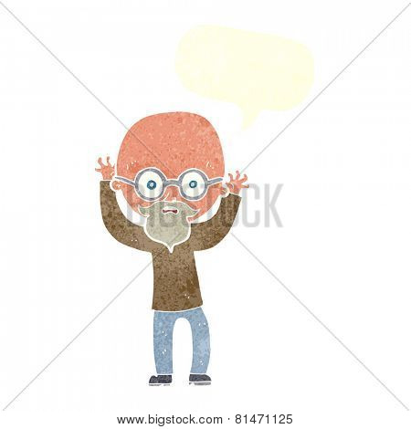 cartoon stressed bald man with speech bubble